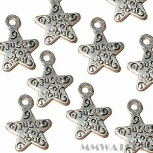 "Tibetan Silver /""just for you/"" Star Charm 10 per pack"