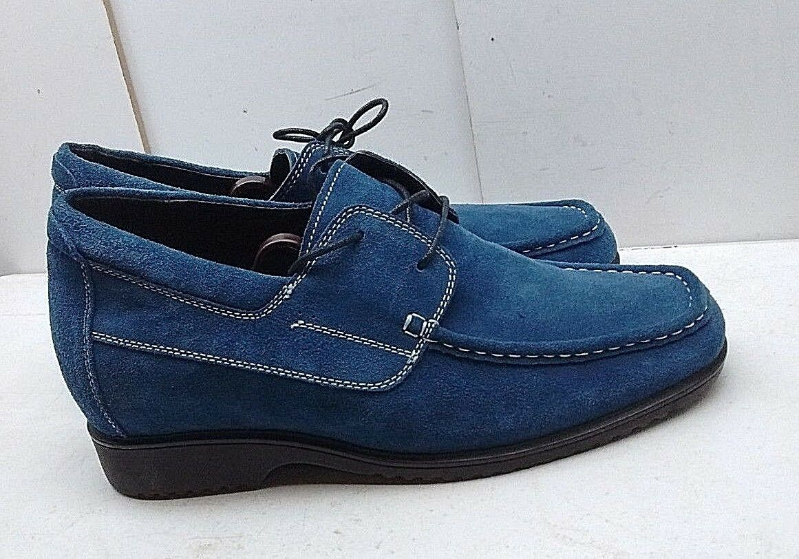 Calto G61213 Inches Taller Men's bluee Suede Oxford Moc Toe Casual Dress shoes 9M