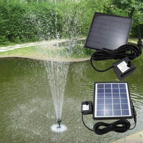 Solar Wasserspiel Teichpumpe Springbrunnen Garten Solarbrunnen 1,2w Fontä#F