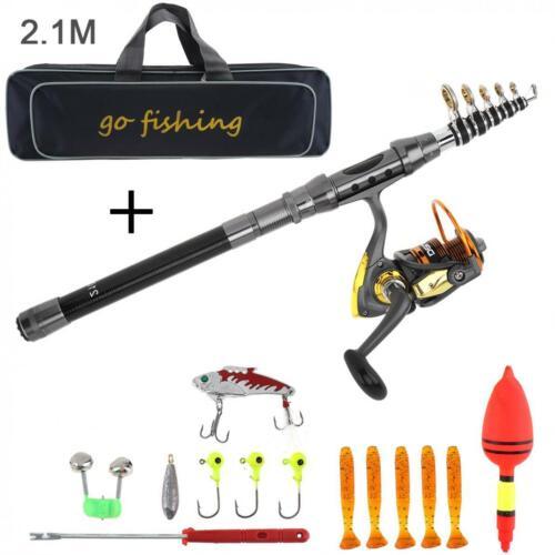 2.1m Carbon Fiber Fishing Rod Reel Combo Full Kits 2000 Spinning Reel w//bag Lure