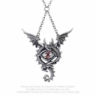 Alchemy Étain Pendentif Swarovski-Sang Rose Collier Coeur Gothique Mystic Wicca