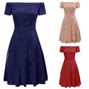 UK-Women-A-Line-Off-Shoulder-Short-Sleeve-Sequin-Mini-Dress-Party-Club-Cocktail
