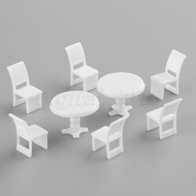 10Sets 22mm Round Table /& Chair Model Furniture Doll House Decor