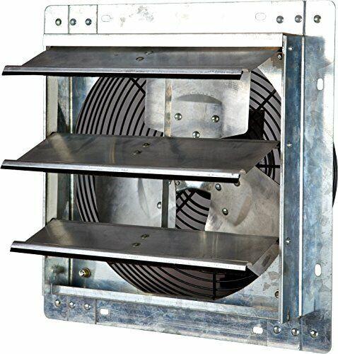 iLiving ILG8SF12V 12 Inch Variable Speed Wall Mounted Steel Shutter Exhaust Fan