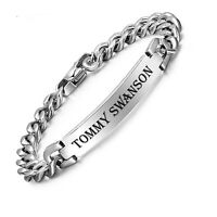 Personalized Men's Silver Stainless Steel Curb Link Id Bracelet Custom Engraved