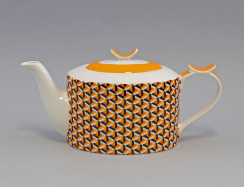 9952495 Thé-Théière Brillant porcelaine Losange Orange 30x20cm 1,2 L