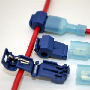 100 x Blue Electrical Cable Connectors Quick Splice Lock Wire Terminal Crimp USA