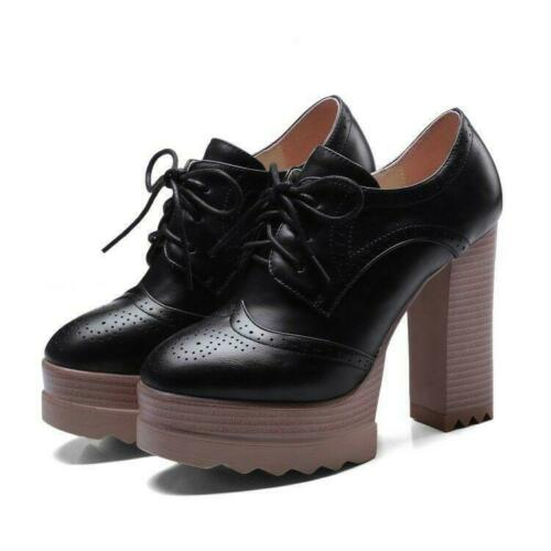 Women/'s Brogues Shoes Platform High Block Heels Round Toe Lace Up Retro Casual
