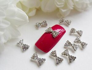 3D-Nail-Art-Silver-Rhinestone-Curved-Bows-Sparkly-Alloy-Metallic-Decoration