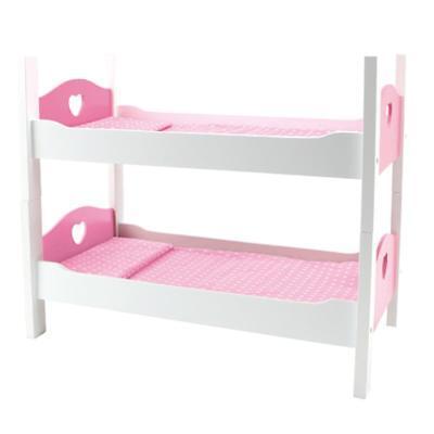 Holz Puppenbett Etagenbett Stapelbett Bett mit Zubehör Weiß/Pink 2 Teilig NEU