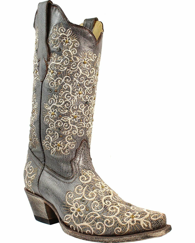 buona qualità CORRAL donna grigio grigio grigio Floral Embroidered Studs and Crystals Cowgirl avvio Snip R1408  benvenuto per ordinare