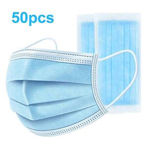 50Stk Einweg Mundschutz Masken 3-lagig Filter Gesichtsmaske Schutzmaske