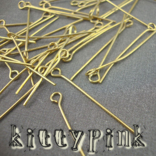 100 Gold Plated Eyepins 30 x 0.7mm Eye Pins Findings