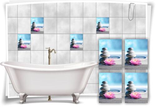 Fliesen-Aufkleber SPA Wellness See-Stern Steine Sand Grau Blau Rosa Bad WC Deko