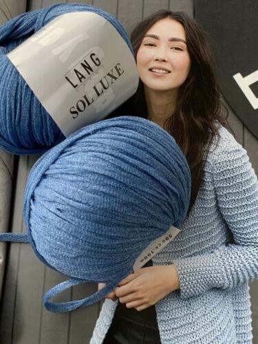 600g sol Luxe Lang Yarns jeans azul lana algodón brillo efecto malla verano