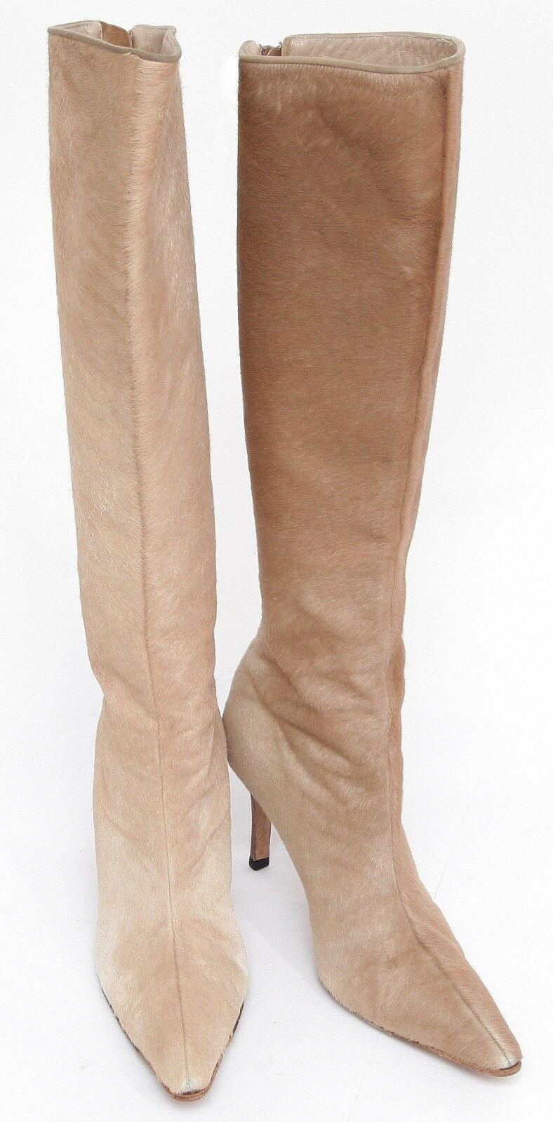 MANOLO BLAHNIK Stiefel Knee High Pointed Toe Pony Hair Suede Leather Zipper 36.5