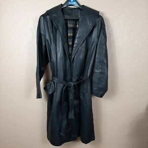 VTG-Black-Leather-Open-Trench-Coat-With-Belt-Womens-Overcoat-Large-Collar-Lapels