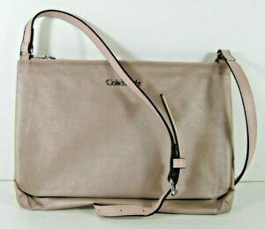 Calvin-Klein-NEW-138-Mauve-Crossbody-Shoulder-Bag-Top-Zip-Nylon-Leather-Trim