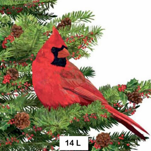14 TWO Individual Paper Luncheon Decoupage Napkins CARDINAL BIRD WINTER PINE
