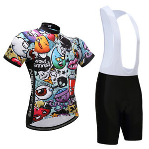 Men s Bike Clothing Cartoon Cycling Jersey and Padded (Bib) Shorts ... 848688d7b