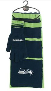 c8197b20 Details about NFL Seattle Seahawks Scarf Glove Gift Set Stripe 2017 *New*