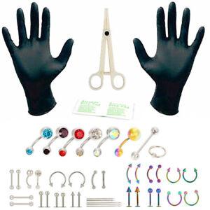 Piercing-per-il-corpo-Kit-piercing-all-039-ago-capezzoli-Tongue-Sopracciglio-CRIT