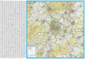 Details about 50 Miles around Birmingham A-Z Road Map (Wallmap, Paper, 2019)