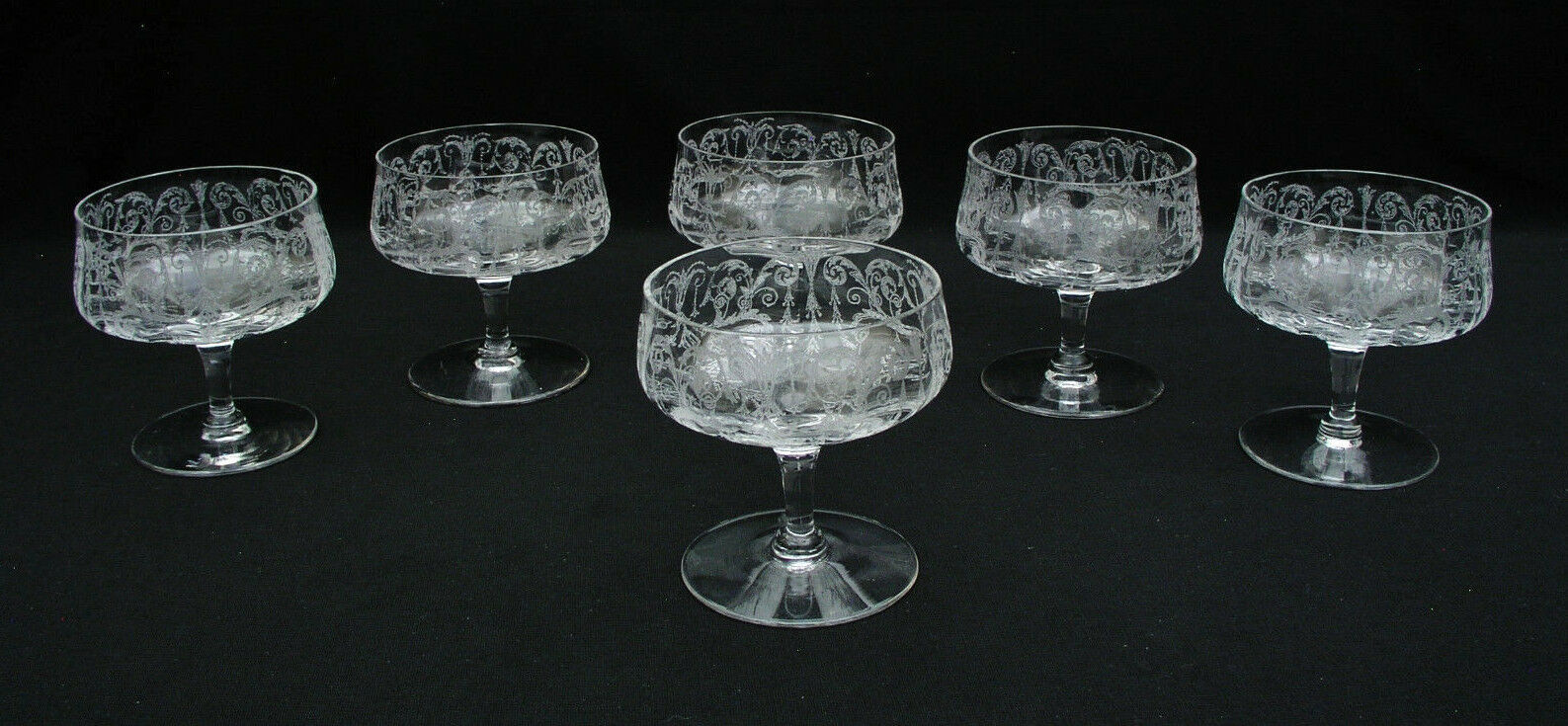 (6) CAMBRIDGE GLASS - CLEO CLEAR CLEAR CLEAR - ETCHED - 3 3 8  LOW SHERBET GLASSES 7c6ea6