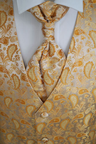 Handkerchief and Tie Gold No 13.1 Size 44-114 Wedding Waistcoat with Plastron