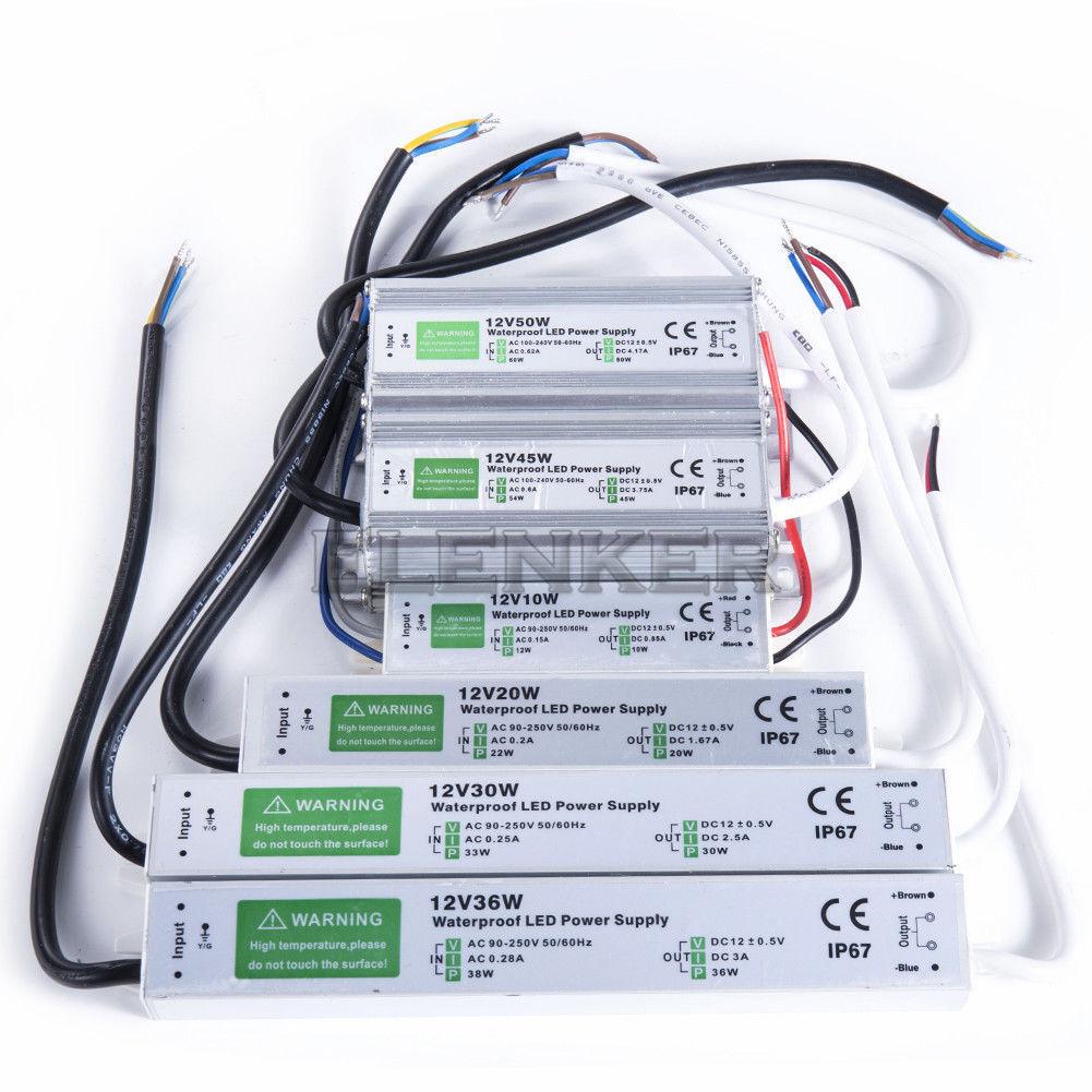 Ac 110v 240v To Dc12v 24v Ip67 Waterproof Led Transformer Driver Power Supply Ns Ebay