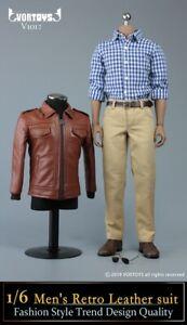 VORTOYS 1//6 Scale Male Vintage Leather Jacket Soldier Figure Clothing Toys V1017
