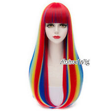 Women Party Anime Cosplay Hair 75cm Lolita Multi-colors Wig + Free Wig Cap