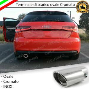 TERMINALE-SCARICO-CROMATO-LUCIDO-OVALE-ACCAIO-INOX-VW-AUDI-A3-8V-SCARICO-SINGOLO