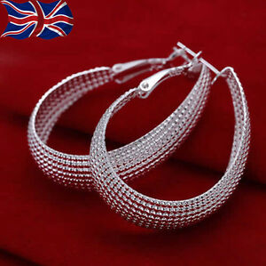 Image Is Loading 925 Sterling Silver Hoop Earrings Textured Large U