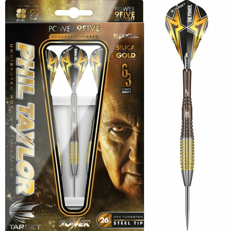 Phil Taylor Target Gen 3 9Five 95% Tungsten 22 gram Steel Tip Dart Set Brand New