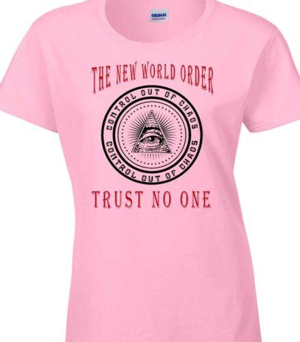 New World Order T-Shirt Ladies Illuminati Conspiracy Political Group Bilderberg