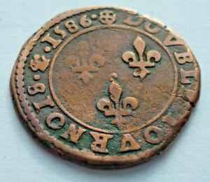 Monedas, Henry III Double Tournois, Tipo De Poitiers 1586 Raro ! (Art.4247)