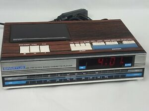 Vintage-Spartus-AM-FM-Radio-Alarm-Clock-with-Cassette-Player-Model-0113-Tested