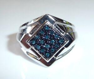 Ring-925-Silber-rhodiniert-mit-16-blauen-Diamanten-ca-0-40-ct-Groesse-60-NEU