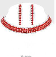 Red Rhinestone Silver Crystal Formal Pageant Necklace Choker Jewelry Set Earring