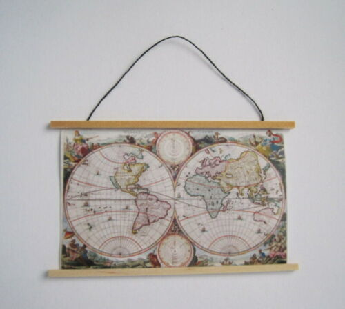Weltkarte Landkarte bunt Puppenhaus Dekoration Miniaturen 1:12