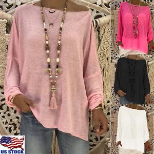 Women-Casual-Long-Sleeve-Blouse-Tops-Ladies-Loose-Plain-T-Shirt-Top-Shirt-Tee-US