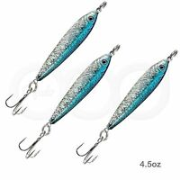 3pcs 4.5oz Fishing Mega Live Bait Metal Lures Luna Jig Holographic Blue Silver