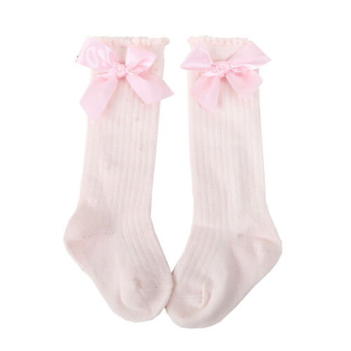0-4 Years Kids Girls Socks Baby Toddler Knee High Long Bow Cotton Stockings Size