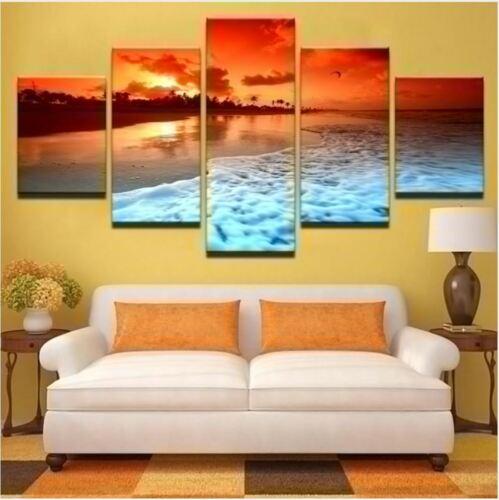 Natural Beach Seascape Wave Landscape 5 Pcs Canvas Wall Poster Home Decor