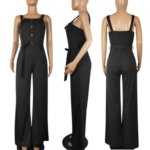 ❤Fashion Women Casual Solid Single-breasted Wide Legs Belted Suspender Trousers