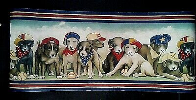 Wallpaper Raymond Waites Americana Country Dogs Puppies on Blue Background