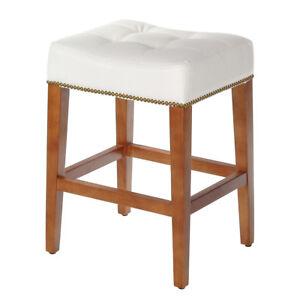 Super Details About Nashville 24 Inch Vintage White Leather Low Counter Stool Brass Nailhead Trim Dailytribune Chair Design For Home Dailytribuneorg