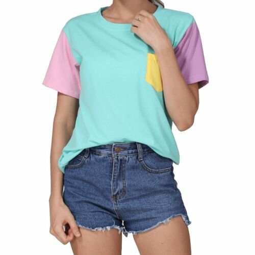 Summer Style Fashion Women Harajuku Patchwork T Shirts Kawaii Casual Cotton