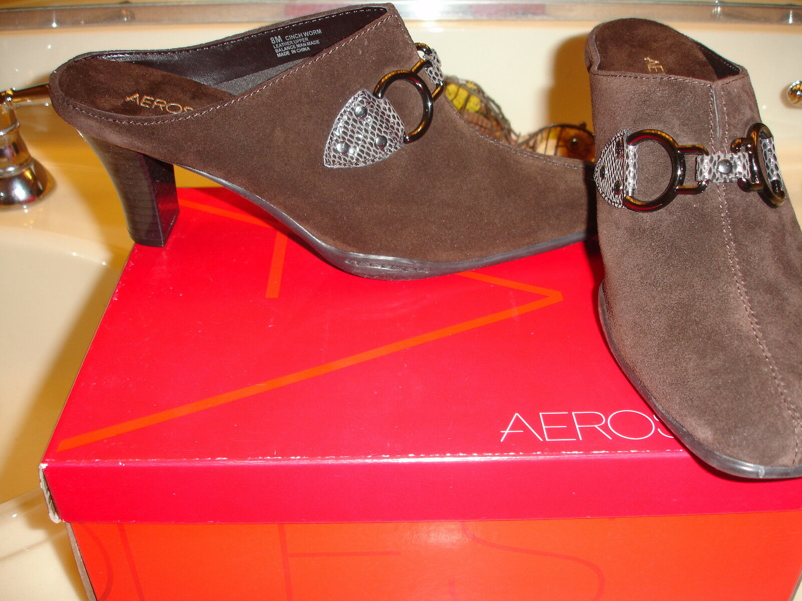 Aerosoles Leather Suede marron Cinch worm Mule Clog 8 6  79 Quality NIce